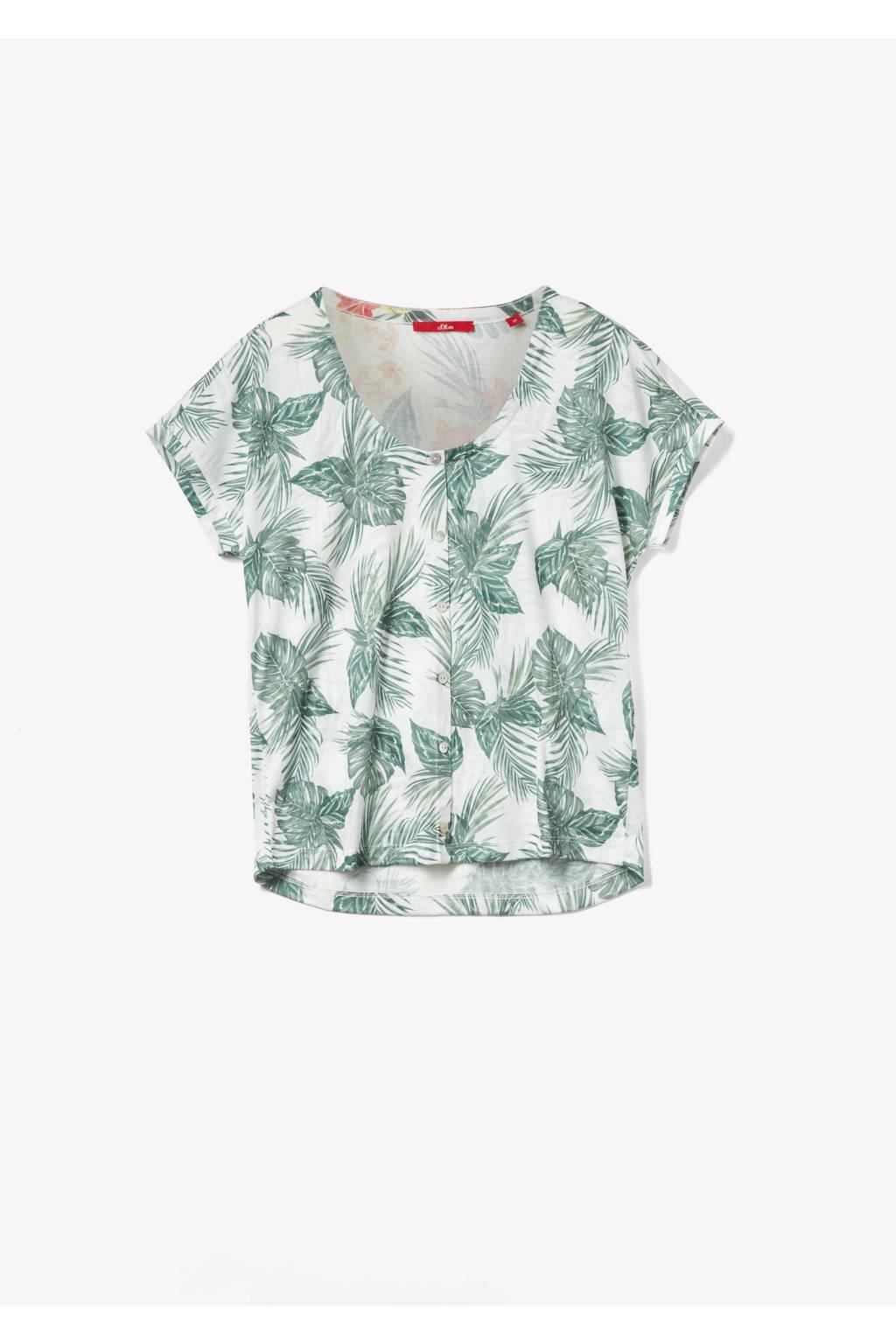 s.Oliver T-shirt met all over print beige/groen, Beige/groen