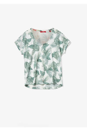 T-shirt met all over print beige/groen