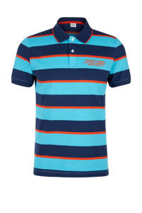 s.Oliver gestreepte regular fit polo blauw/turquoise, Blauw/turquoise