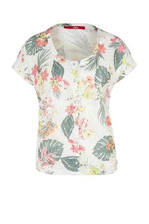 T-shirt met all over print ecru
