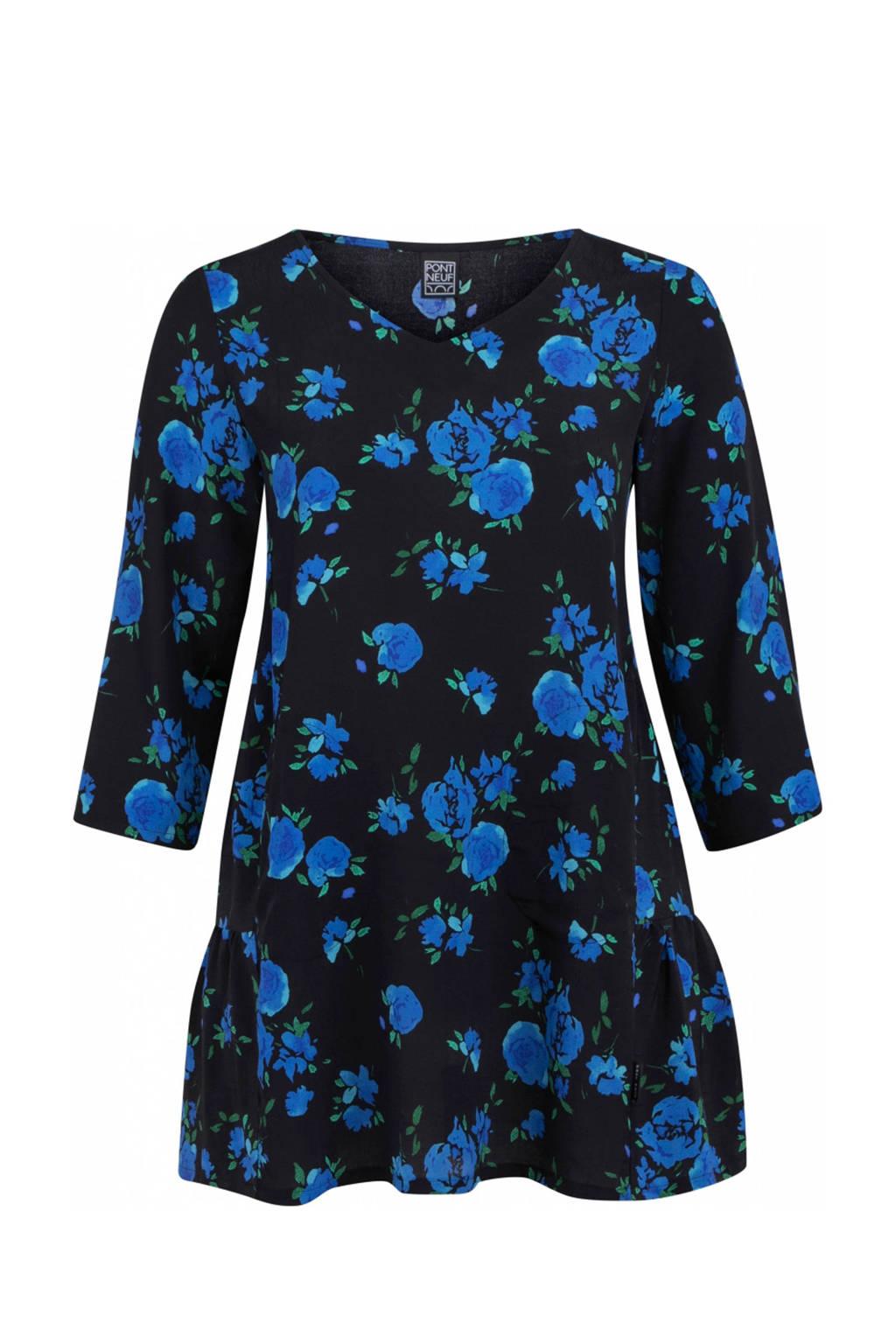 PONT NEUF gebloemde tuniek zwart/blauw, Zwart/blauw