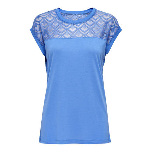 ONLY T-shirt met kant blauw