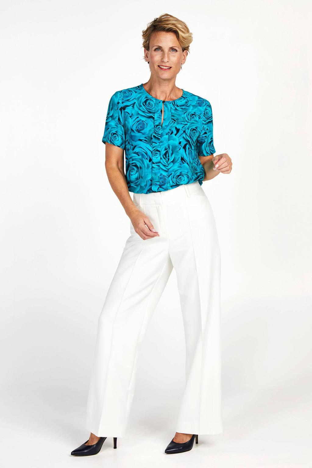 PROMISS gebloemd T-shirt blauw, Blauw