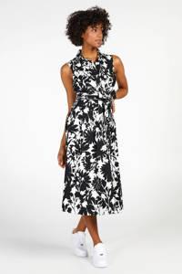 Steps A-lijn jurk met all over print en plooien zwart/wit, Zwart/wit