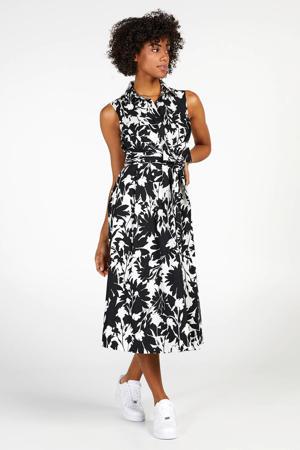 A-lijn jurk met all over print en plooien zwart/wit