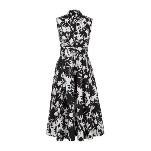 Steps A-lijn jurk met all over print en plooien zw