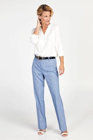 straight fit broek met linnen blauw