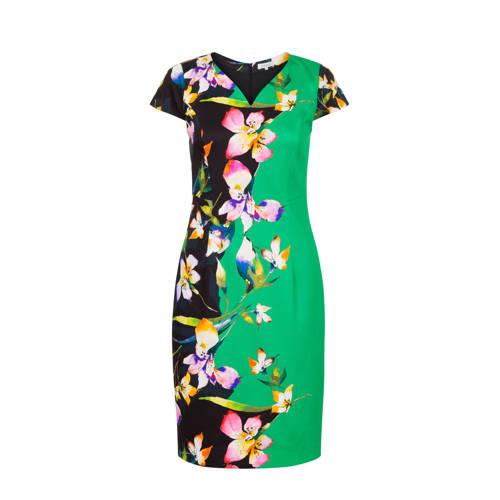 PROMISS gebloemde jurk groen/zwart
