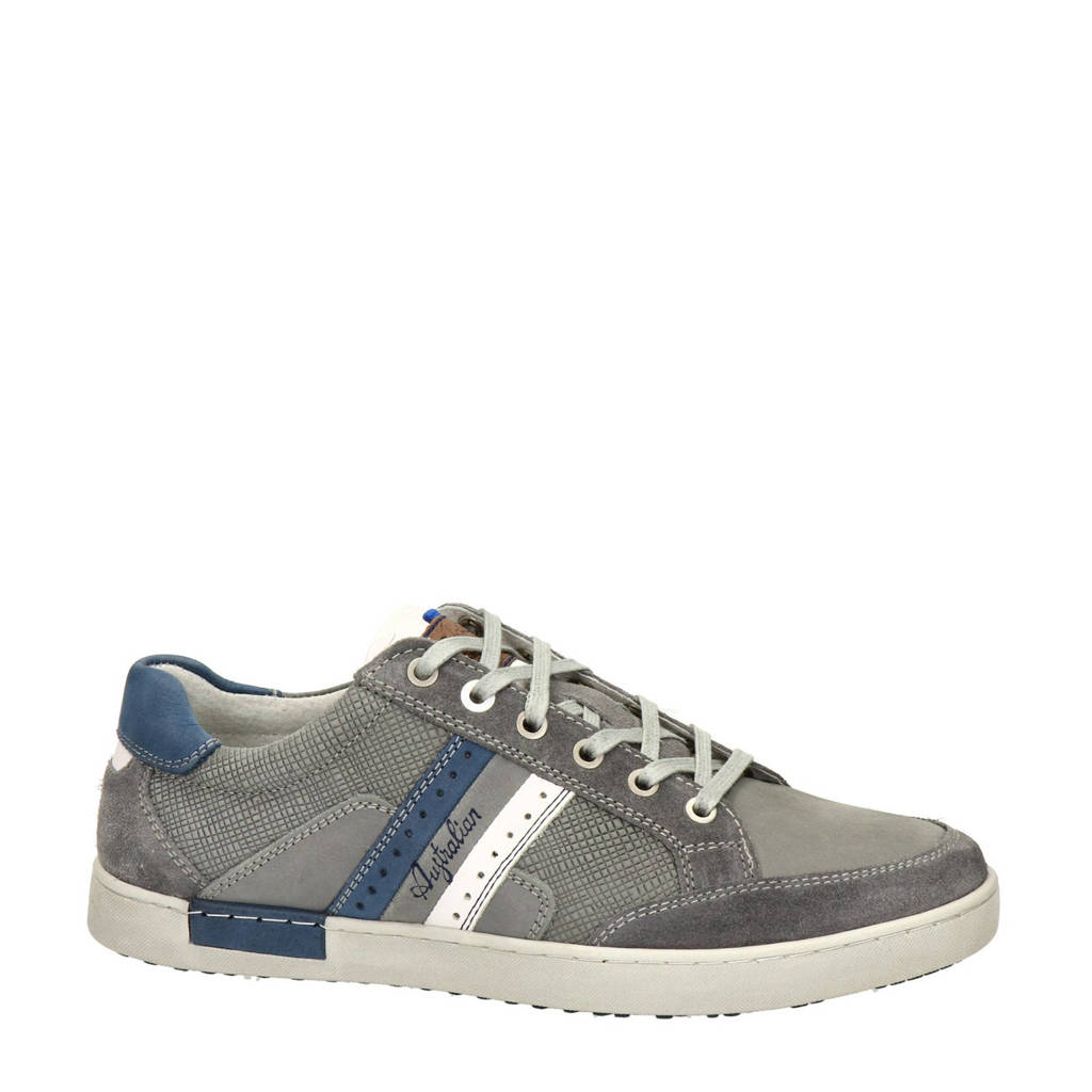 Australian Lombardo  leren sneakers grijs, Grijs/blauw
