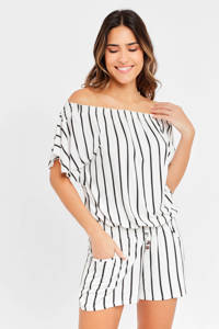 Lascana gestreepte off shoulder playsuit wit/zwart, Wit/zwart