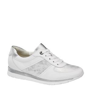 comfort leren veterschoenen wit/zilver