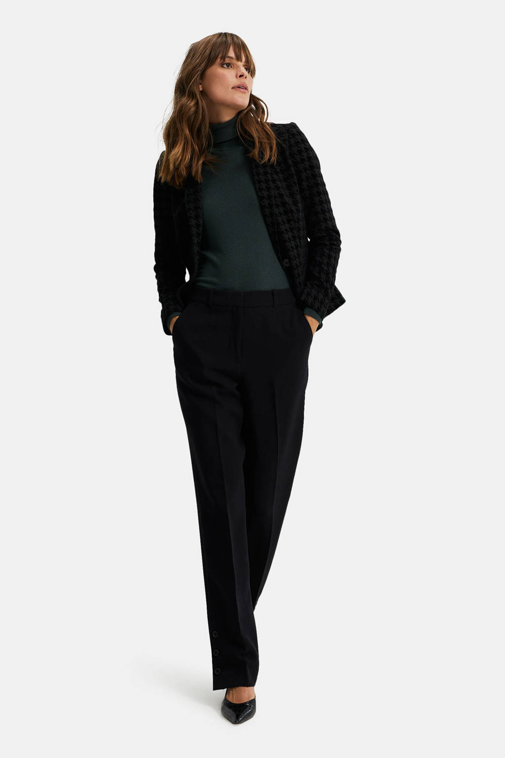 WE Fashion blazer met pied-de-poule zwart, Zwart