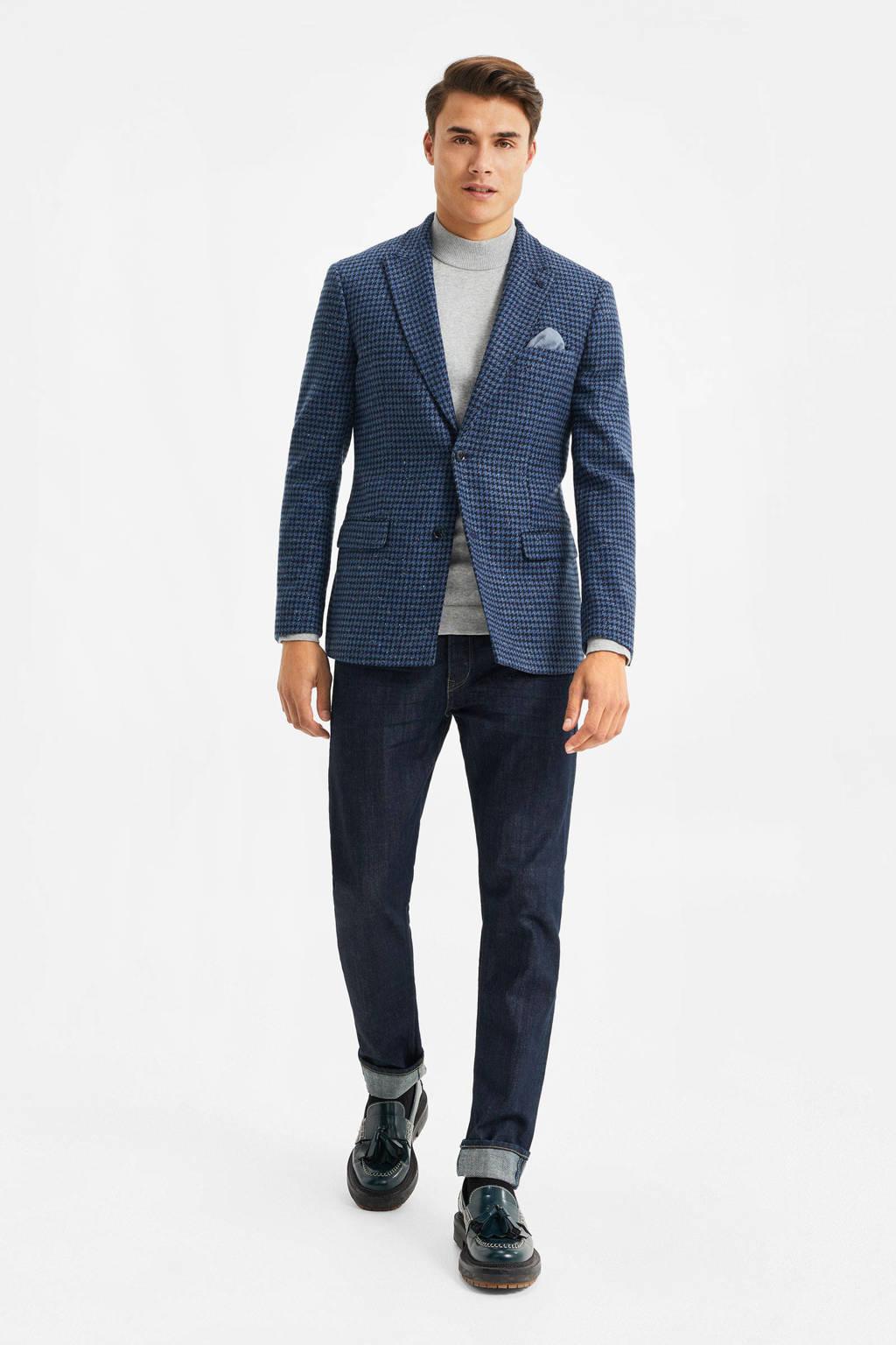 WE Fashion slim fit colbert met wol en pied-de-poule blauw, Blauw