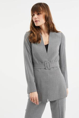 blazer met jacquard grijs