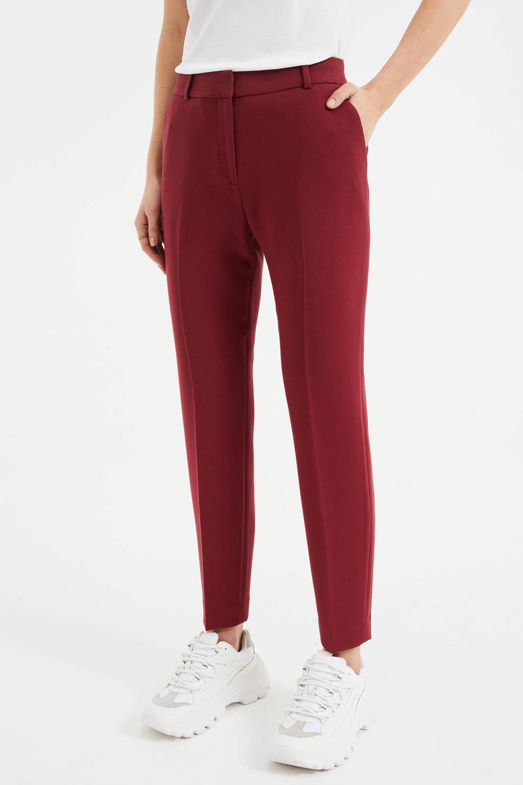 WE Fashion cropped slim fit pantalon donkerrood, Donkerrood
