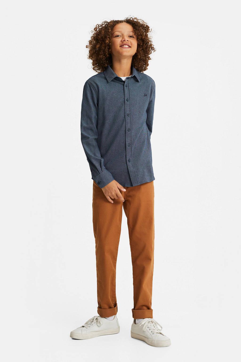 WE Fashion overhemd met borduursels donkerblauw, Donkerblauw