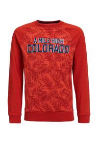 WE Fashion longsleeve Aleskan met tekst rood, Rood
