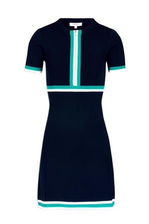 jersey jurk met contrastbies marine