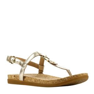 Aleigh  leren sandalen goud