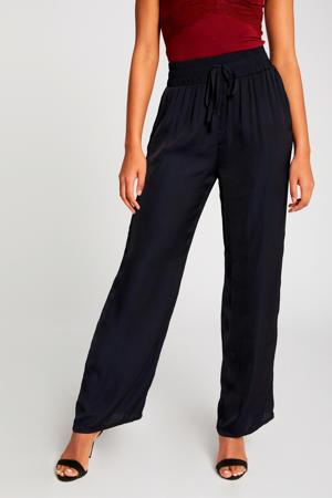 high waist wide leg palazzo broek marineblauw