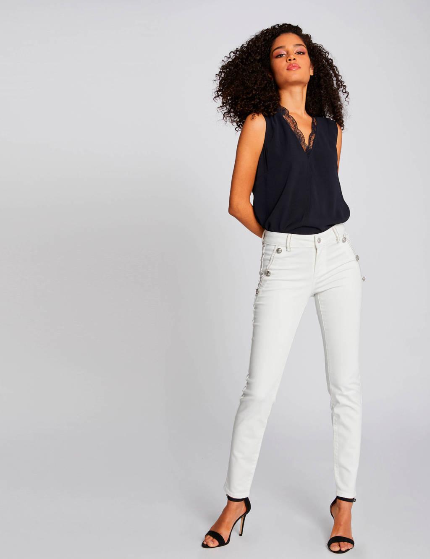 Morgan low waist slim fit broek wit, Wit