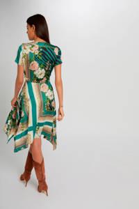 Morgan A-lijn jurk met all over print groen/wit/geel, Groen/wit/geel