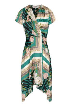 A-lijn jurk met all over print groen/wit/geel