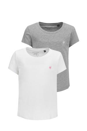 T-shirt - set van 2 grijs/wit