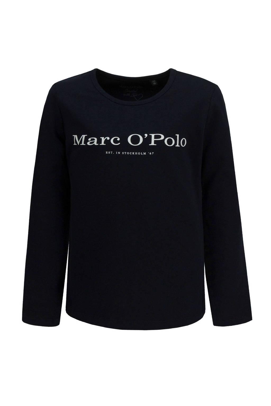 Marc O'Polo longsleeve met logo donkerblauw, Donkerblauw