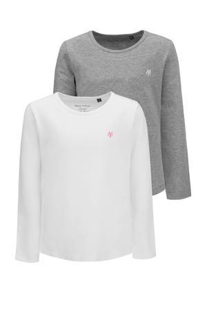 longsleeve - set van 2 wit/grijs