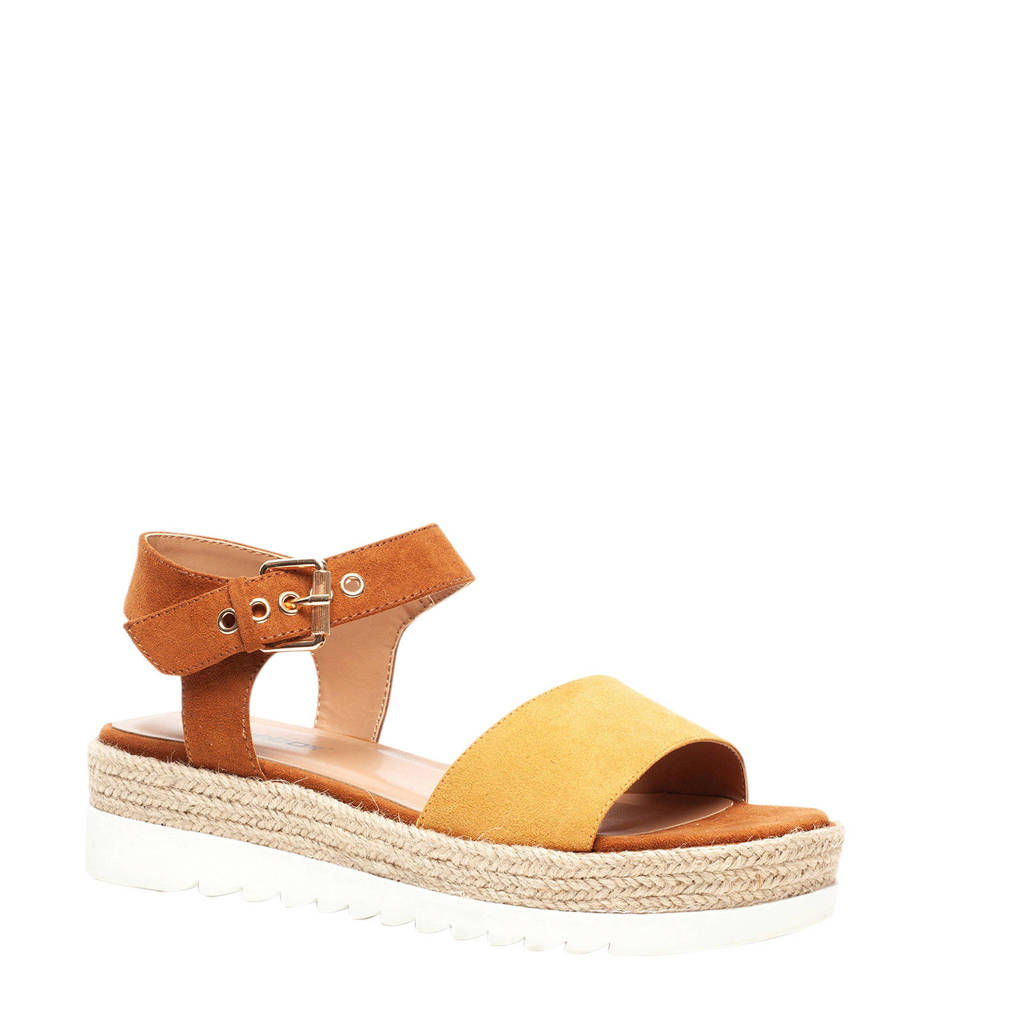 Scapino Blue Box   plateau sandalen geel/bruin, Geel/bruin
