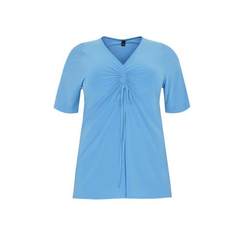 Yoek T-shirt met plooien blauw