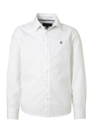 overhemd met stippen en borduursels wit/zwart