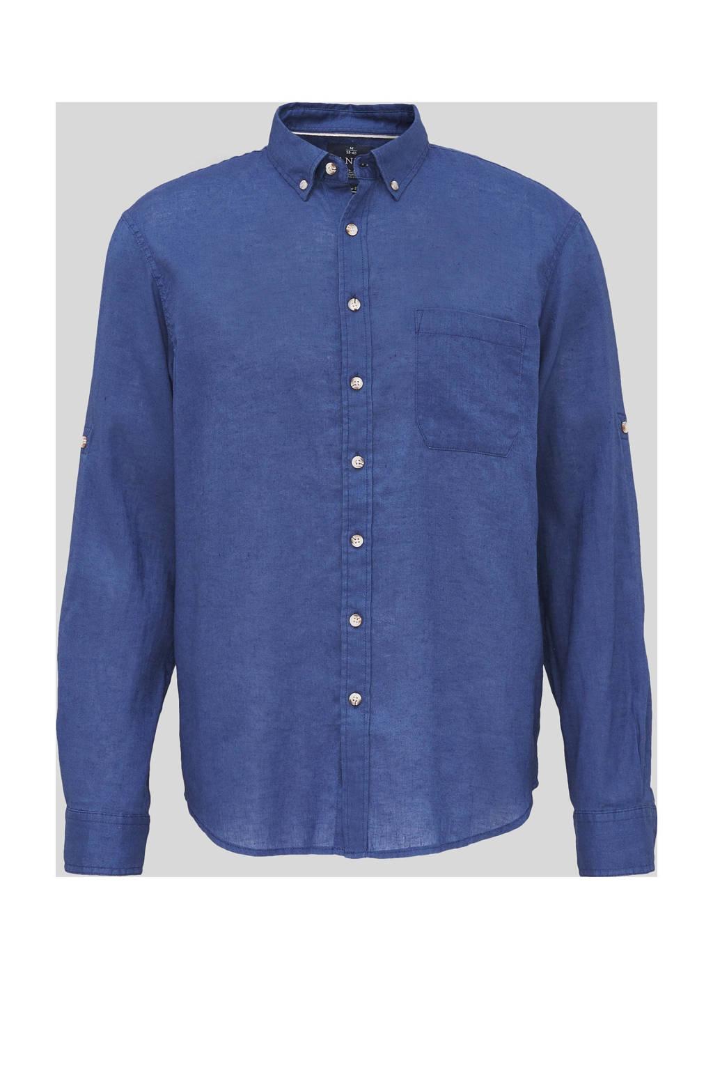 C&A Canda regular fit overhemd met linnen donkerblauw, Donkerblauw