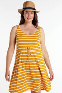 JUNAROSE gestreepte jersey jurk geel/wit, Geel/wit