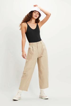 cropped high waist loose fit broek beige