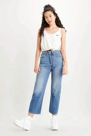 Ribcage cropped high waist straight fit jeans blauw