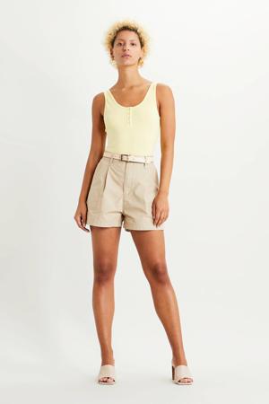 Utility high waist loose fit short beige