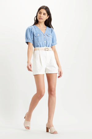 Utility high waist loose fit short wit