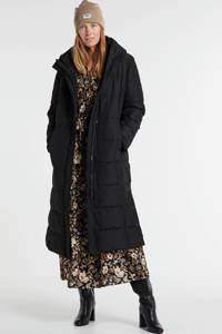 anytime lang gewatteerde jas zwart, Zwart