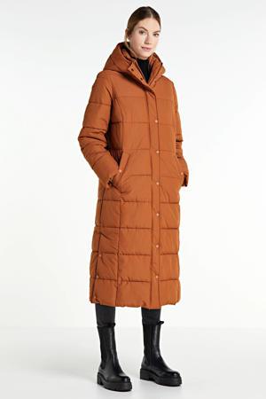 lang gewatteerde jas brique
