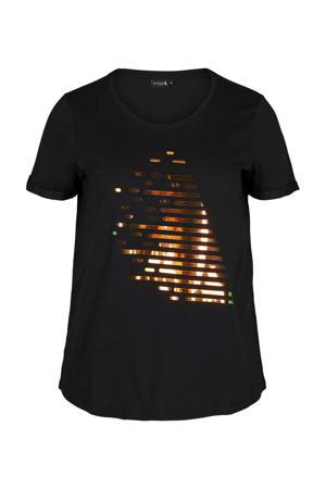 sport T-shirt zwart/goud