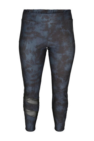 Plus Size 7/8 sportbroek antraciet/blauw