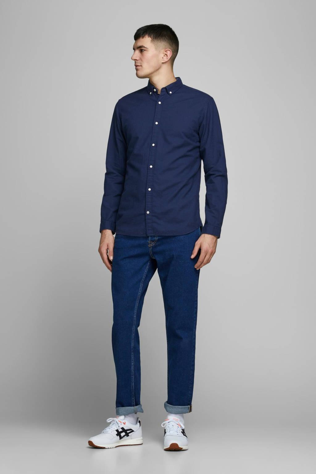JACK & JONES ESSENTIALS slim fit overhemd donkerblauw, Donkerblauw