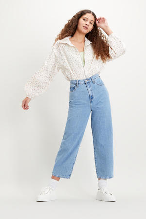 cropped high waist loose fit jeans light denim