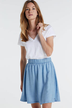 A-lijn rok met plooien light denim