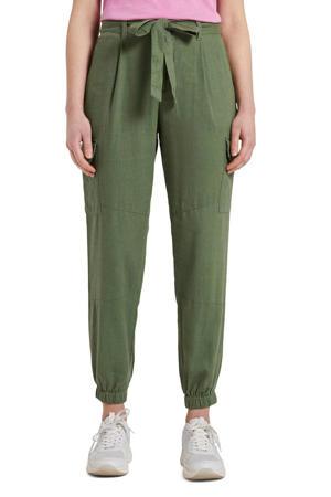 tapered fit cargobroek Utility relaxed pants met linnen olijfgroen