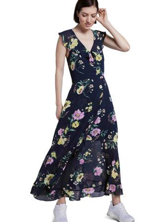 gebloemde maxi jurk blauw/multi