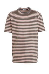 ONLY & SONS gestreept T-shirt Jamie van biologisch katoen beige/groen, Beige/groen