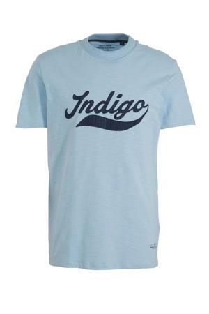 T-shirt Weston met tekst blauw